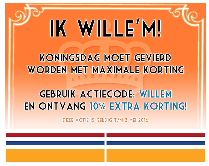 Koningsdag actie 10%